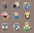 Animal Office Worker Stickers Royalty Free Stock Photo - 25666565