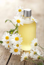 Essential Oil And Camomile Flowers Royalty Free Stock Photo - 25671155