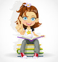 Cute Schoolgirl Read On A Pile Of Books Stock Image - 25677531