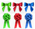 Red, Green  And Blue Bows. Royalty Free Stock Photos - 25688318