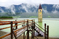 Flooded Bell Tower In Resia Lake, Italy Royalty Free Stock Image - 25696336