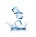 Ice Cubes Splashing Into The Water Stock Photography - 25702422