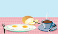 Morning Meal Fried Eggs Coffee And Bread With Mask Royalty Free Stock Photo - 25707005