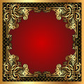 Red Background Frame With Gold(en) Pattern And Net Stock Photo - 25707280