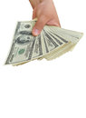 Dollars In The Hand On White Stock Photos - 25708293