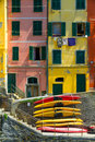 Old Houses In Riomaggiore With Canoes, Italy Stock Photography - 25708592
