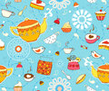 Tea Cake Seamless Background Royalty Free Stock Photo - 25714985