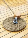 Thick Rope On Wood Floor Royalty Free Stock Photo - 25717875