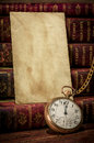 Old Photo Paper Texture, Pocket Watch And Books Royalty Free Stock Photography - 25758107