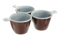Three Disposable Plastic Brown Coffee Cups Stock Photo - 25792970
