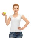 Teenage Girl With Green Apple Stock Photography - 25794222