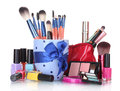 Make-up Brushes In Cup And Cosmetics Stock Photography - 25828312