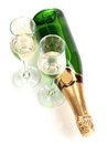 Bottle Of Champagne And Goblets Stock Images - 25828384