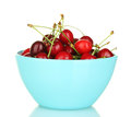 Cherry In A Blue Bowl Stock Image - 25830661