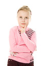 Pretty Little Girl Looking To The Side And Up Stock Photos - 25839783