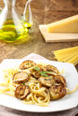 Pasta With Fried Zucchini Stock Photos - 25856733