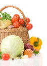 Healthy Vegetable Food And Basket On White Royalty Free Stock Image - 25858326