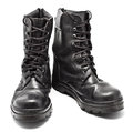 Black Leather Army Boots Royalty Free Stock Image - 25860036