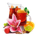 Beverage In Pitcher And Glass With Fruits Royalty Free Stock Photos - 25865328