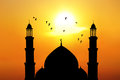 Beautiful Mosque At Sunset Royalty Free Stock Image - 25877666