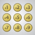 Gold Press Number Badges Royalty Free Stock Images - 25881849