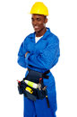Smiling African Worker Posing With Arms Crossed Royalty Free Stock Photography - 25883597