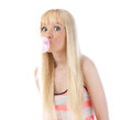 Pretty Woman Blowing Bubble With Bubble Gum Stock Image - 25894561