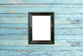 Black Vintage Picture Frame On Old Wood Background Stock Photography - 25895572