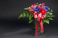 Colorful Flowers Bouquet With Pink Ribbon Royalty Free Stock Photo - 25900115
