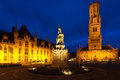 Statue Center Old City Square Bruges Belfry Stock Photography - 25930632