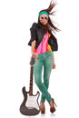 Hot Rock And Roll Woman With Electric Guitar Royalty Free Stock Photo - 25949685