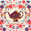Template With Teapot Royalty Free Stock Photos - 25973158