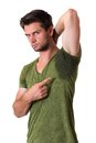 Man Sweating Very Badly Under Armpit Stock Photos - 25999493