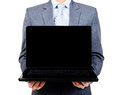 Business Man Holding Blank Laptop Royalty Free Stock Photography - 26000427
