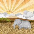 Elephant In Safari Field Recycled Paper Background Royalty Free Stock Photography - 26011517