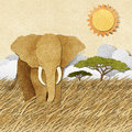 Elephant In Safari Field Recycled Paper Background Stock Photos - 26012173