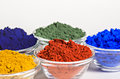 Color Pigments In Glass Bowls Royalty Free Stock Photos - 26014098