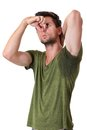 Man Sweating Very Badly Under Armpit Royalty Free Stock Image - 26031716