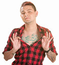 Man Shows Chest Tattoo Stock Images - 26033814