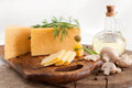 Cheese With Greens And Mushrooms Royalty Free Stock Image - 26054676