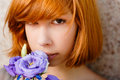 Young Beautiful Red Hair Girl & Purple Rose Stock Photography - 26066082