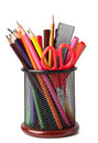 Holder With Scissors And Colored Pencils Royalty Free Stock Photos - 26067748