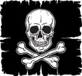 Skull And Crossbones Over Black Flag Stock Image - 26076121