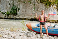Water Rafting, Young Man And Raft Boat Royalty Free Stock Image - 26077456