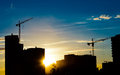 Construction Cranes And Building Silhouettes Stock Images - 26086754