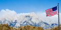 US Flag With Mount Whitney And Lone Pine Mountains Stock Photos - 26109013