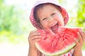 Girl With Watermelon Stock Photography - 26123582