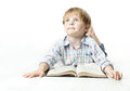 Llittle Child Reading Book  And Dreaming Stock Image - 26127391