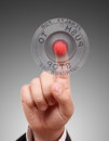 Red STOP Button With Hand Stock Images - 26129164