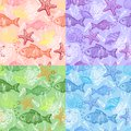 Set Of Sea Hand Drawn Seamless Pattern Royalty Free Stock Photos - 26144438